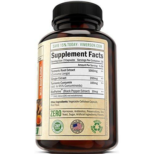 Turmeric Curcumin with Ginger & Bioperine Supplement Vimerson Health