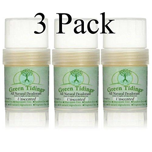 Green Tidings All Natural Deodorant  Unscented 1oz (3 PACK- 25% OFF)