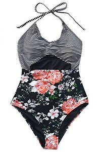 CUPSHE Women's Cloud Stroll Floral Printing Halter One-Piece Swimsuit Beach Swimwear Bathing Suit