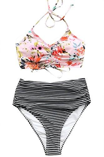 CUPSHE Women's This is Love High Waisted Lace Up Halter Bikini Set, Pink, Small