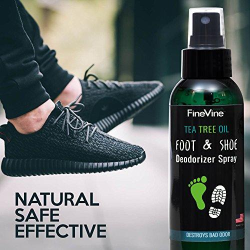 All Natural Shoe Deodorizer and Foot Deodorant Spray - Made in USA - with Peppermint, Tea Tree, Eucalyptus and Essential Oils to Remove Bad Odor and Scent - Best for Stinky Shoes, Smelly Feet & Sport