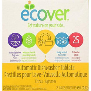 Ecover Automatic Dishwasher Soap Tablets, Citrus, 25 Count, 6 Pack