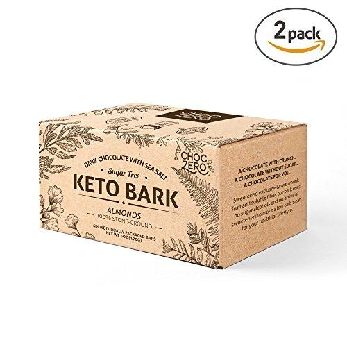 Keto Bark, Dark Chocolate Almonds with Sea Salt (2 boxes, 6 bars/each)