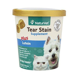 NaturVet Tear Stain Remover for Dogs and Cats with Lutein, Eye Stain Supplement, Keep Fur Clean with Our Tasty Tear Stain Supplement Soft Chew From