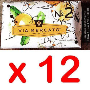 Via Mercato Italian Soap Bar (200g), No. 2 - Green Tea & White Musk CASE OF 12