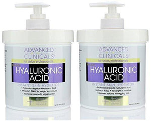 Advanced Clinicals Anti-aging Hyaluronic Acid Cream for face, body, hands. Instant hydration for skin, spa size. (Two - 16oz)