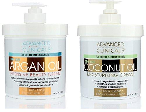 Advanced Clinicals Coconut Oil Cream and Argan Oil Cream Set. Value skincare set contains best-selling Coconut Oil and Argan Oil. Anti-aging creams for face, hands, body. Two spa size 16oz creams.