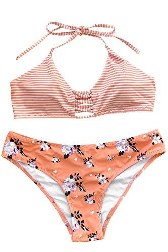 CUPSHE Women's Stripe Top Floral Printing Bottom Halter Padding Bikini Set Medium