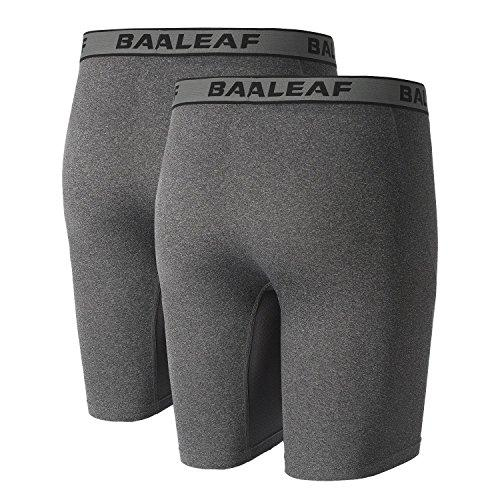 "Baleaf Men's 9"" Sport Boxer Briefs Performance Underwear with Fly Carbon Heather/Carbon Heather Size L(2-Pack)"