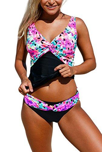 d3fcef2effc40 Dokotoo Womens Sexy Beach Ladies Retro Bandeau Print Color Block Swim Tops  Tankini Bathing Suits Two