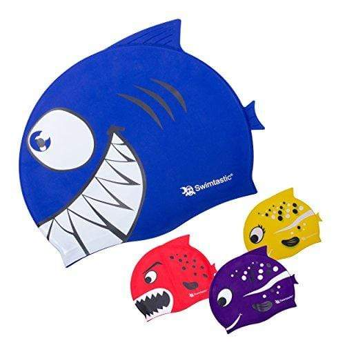 Swimtastic® Kids Sharks & Minnows Swim Cap - Entertain Both Boys & Girls for Hours! (Blue Shark) Swim Cap Swimtastic®