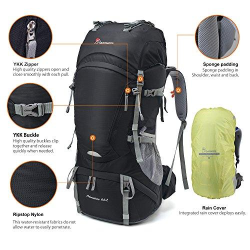 Mountaintop 65L Outdoor Hiking Backpack Camping Backpack Internal Frame Bag, Black