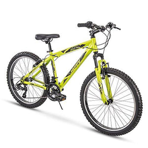 "Huffy 24"" Tekton Mens 21-Speed Hardtail Mountain Bike, Aluminum Frame, Oversized Tires, Matte Acid Green"