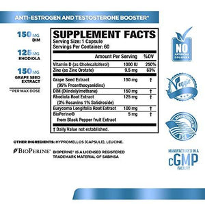 ANDROSURGE Estrogen Blocker for Men - Natural Anti-Estrogen, Testosterone Booster & Aromatase Inhibitor Supplement - Boost Muscle Growth & Fat Loss - DIM & 6 More Powerful Ingredients, 60 Veggie Pills