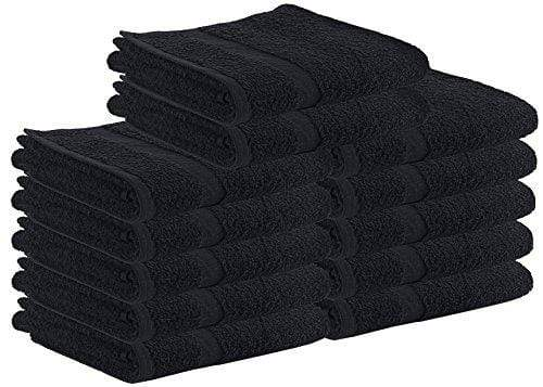 Utopia Towels Cotton Salon Towels - Gym Towel - Hand Towel - (24-Pack, Black) - 16 inches x 27 inches, Not Bleach Proof - Ring-Spun Cotton - Maximum Softness and Absorbency, Easy Care