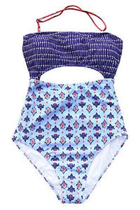 CUPSHE Women's Colorful Girl Ethnic Print Halter One-Piece Cutout Swimsuit High Waisted Monokini X-Large