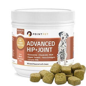 POINTPET Advanced Hip and Joint Supplement for Dogs with Glucosamine, MSM, Chondroitin, Omega 3, 6, Organic Turmeric, Improves Mobility and Hip Dysplasia, Arthritis Pain Relief, 90 Soft Chews