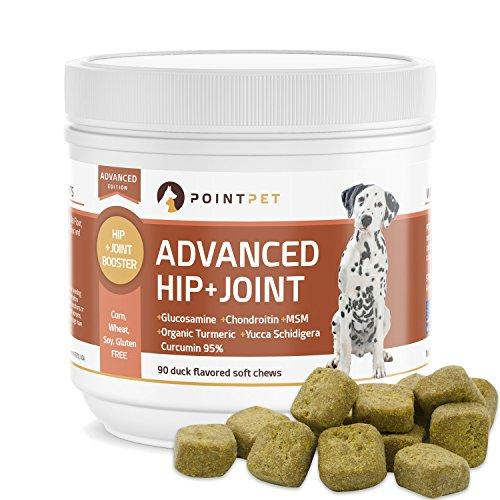 POINTPET Advanced Hip and Joint Supplement for Dogs with Glucosamine, MSM, Chondroitin, Omega 3, 6, Organic Turmeric, Improves Mobility and Hip Dysplasia, Arthritis Pain Relief, 90 Soft Chews Animal Wellness POINTPET