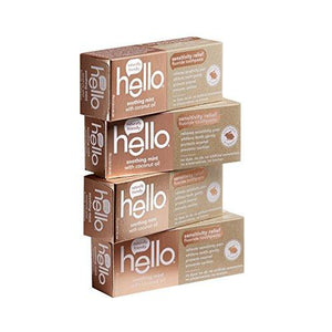 Hello Oral Care Sensitivity Relief Fluoride Toothpaste with No Artificial Sweeteners or SLS, Soothing Mint with Coconut Oil, 4 Count