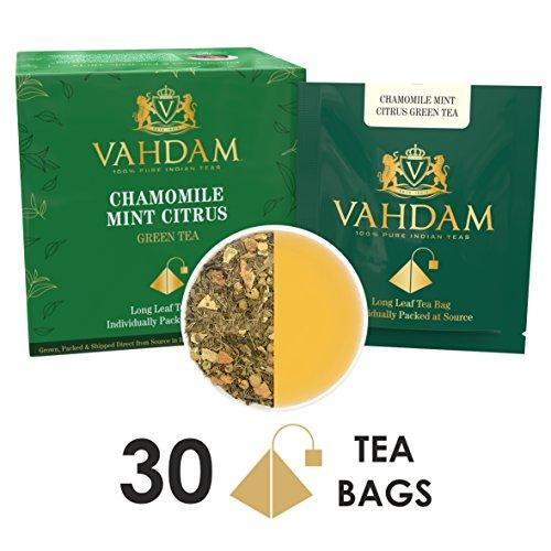 Chamomile Mint Citrus Green Tea Leaves, 15 Tea Bags (PACK OF 2) Food & Drink Vahdam