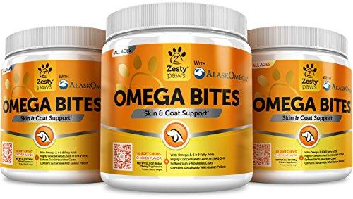 Omega 3 Alaskan Fish Oil Chew Treats for Dogs - With AlaskOmega for EPA & DHA Fatty Acids - For Shiny Coats & Itch Free Skin - Natural Hip & Joint Support + Promotes Heart & Brain Health - 90 Count Animal Wellness Zesty Paws