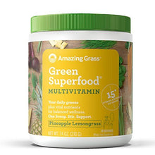Amazing Grass Green Superfood Multi-Vitamin Powder with Wheat Grass and Greens, Flavor: Pineapple Lemongrass, 30 Servings