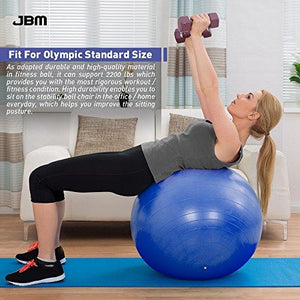 JBM Exercise Yoga Ball with Free Air Pump (3 Sizes, 5 Colors)