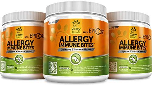 Allergy Immune Supplement for Dogs - With Omega 3 Wild Alaskan Salmon Fish Oil & EpiCor + Digestive Prebiotics & Probiotics - Seasonal Allergies + Anti Itch & Hot Spots Skin Support - 90 Chew Treats Animal Wellness Zesty Paws