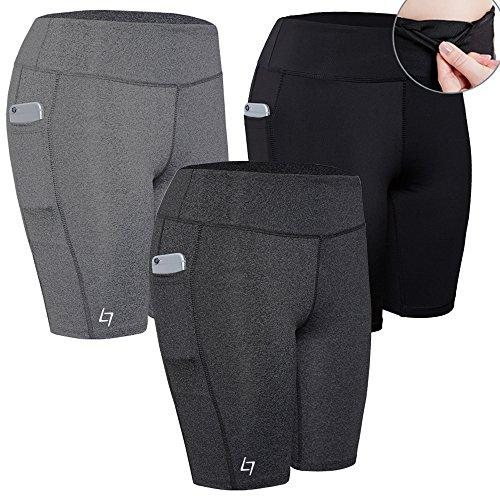 FITTIN Women's Sports Shorts Activewear for Active Fitness Pocket Yoga Running Workout Gym Running Leggings 3-Pack S