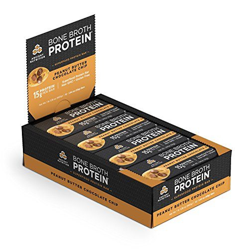 Ancient Nutrition Bone Broth Protein Bars, Peanut Butter Chocolate Chip, Gluten Free, Naturally Flavored Snack Bar with 15g Protein, 12 Count Pack