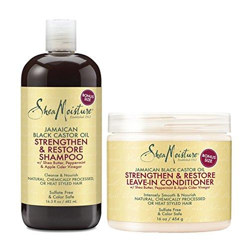 Shea Moisture Jamaican Black Castor Oil Combination Pack – Strengthen & Restore Shampoo, 16.3 Oz & Strengthen & Restore Leave-In Conditioner 16 Oz
