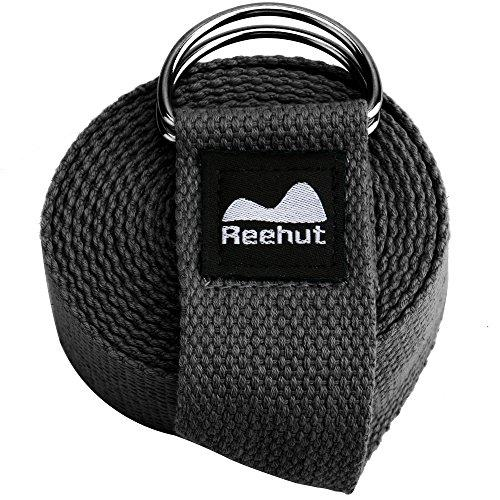 Yoga Strap (6ft) - Durable Cotton Exercise Straps w/Adjustable D-Ring Buckle Accessory REEHUT