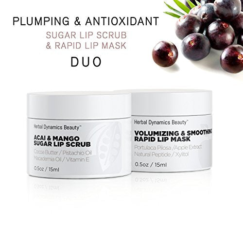 HD Beauty Plumping + Antioxidant Sugar Lip Scrub and Rapid Lip Mask Duo, for Hydrating Dry Lips, Volumizing and Antiaging with Acai, Mango Butter, and Apple Extract