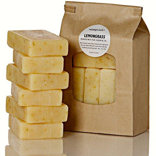 Simplici Lemongrass & Calendula Soap. 6 Bar Bulk Pack. Scented with Lemongrass Pure Essential Oil. Palm Oil Free. 15% Coconut Oil. Long Lasting Lye Soap. 5 oz. EA. Traditional (Non Vegan) Recipe.