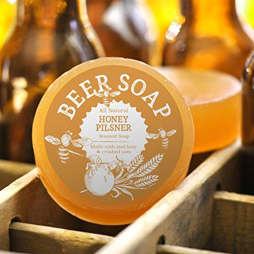 Beer Soap (Honey Pilsner) - All Natural + Made in USA - Actually Smells Good! Perfect Gift For Beer Lovers