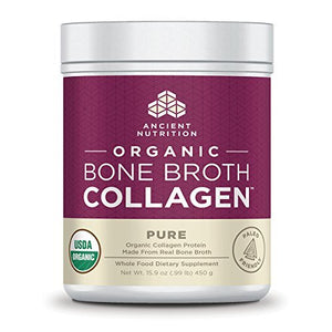 Ancient Nutrition Organic Bone Broth Collagen, Organic Protein Powder Loaded with Bone Broth Co-Factors, 10g of Type II Collagen Per Serving, Pure Flavor, 15.9 oz