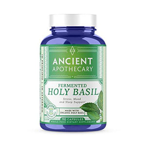 Ancient Apothecary Fermented Holy Basil Supplement, 90 Capsules — Infused with Organic Essential Oils, Ashwagandha Extract and Digestive Bitters