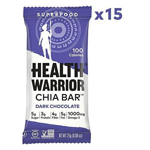 Chia Bars, Dark Chocolate, Gluten Free, Vegan, 25g bars, 15 Count Food & Drink Health Warrior