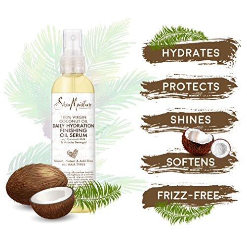 SheaMoisture 100% Virgin Coconut Oil Daily Hydration Finishing Oil Serum | 4 fl. oz. | Pack of Two