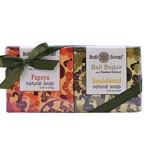 Bali Soap - Natural Soap Bar Gift Set, Face or Body Soap Best for All Skin Types, For Women, Men & Teens, Bali Bagus Papaya & Sandalwood 2 pc Soap Set, 3.3 Oz each