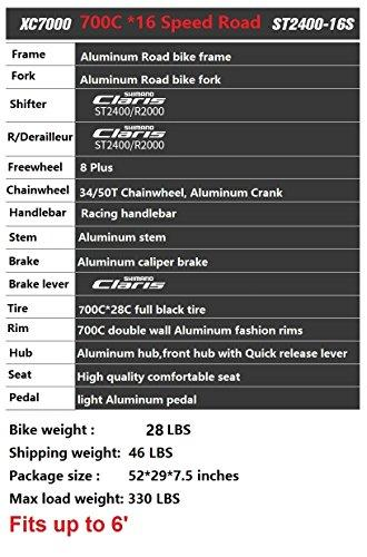 EUROBIKE XC7000 Road Bike 54CM Light Aluminum Frame 16 Speed 700C Road Bicycle Sport & Recreation EUROBIKE