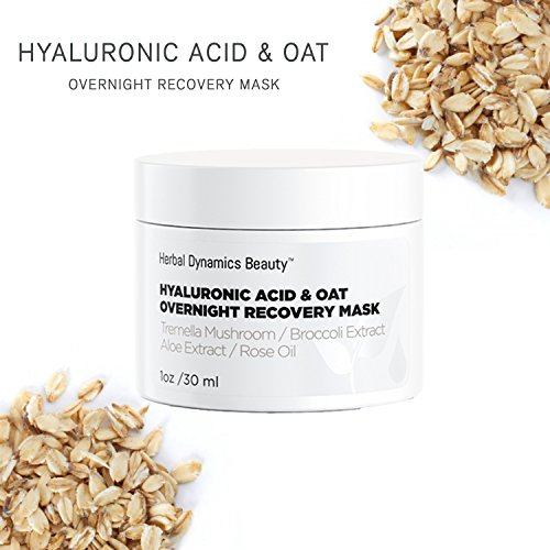 HD Beauty Hyaluronic Acid + Oat Overnight Recovery Mask with Tremella Mushroom, Broccoli Extract, Aloe Extract and Rose Oil, Anti-Aging for Dull and Dehydrated skin, 1.0 oz.