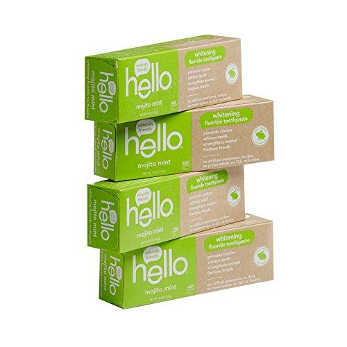 Hello Oral Care Whitening Fluoride Toothpaste with No Artificial Sweeteners or SLS, Mojito Mint (Pack of 4)