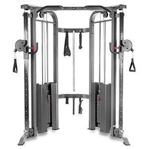 Functional Trainer Cable Machine with Dual 200 lb Weight Stacks, 19 Adjustments, and Accessory Package