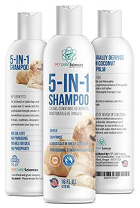 Dog/Puppy/Pet Shampoo - 96% Plant Content Naturally Derived Coconut Oil, Oatmeal, Aloe & Palm. 5 in 1 Cleaner, Conditioner, Detangler, Deodorizer and Moisturizer. Sensitive. Made in USA. 16OZ