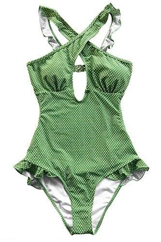 CUPSHE Women's Lovely Girl Ruffles Cross Halter Straps One-Piece Swimsuit, Green, Small
