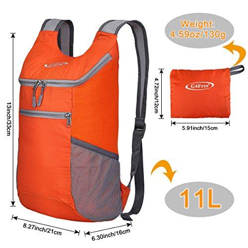 G4Free Lightweight Packable Shoulder Backpack Hiking Daypacks Small Casual Foldable Camping Outdoor Bag for Adults Kids 11L(Orange)