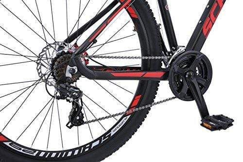 Schwinn Bonafide Mens Mountain Bike, Front Suspension, 24-Speed, 29-Inch Wheels, 17-Inch Aluminum Frame, Matte Black/Red Outdoors Schwinn