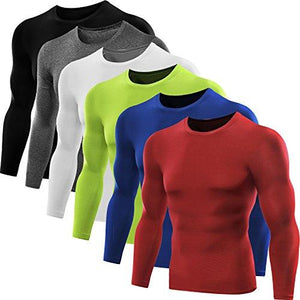 Neleus Mens Dry Fit Athletic Compression Shirt Pack of 3