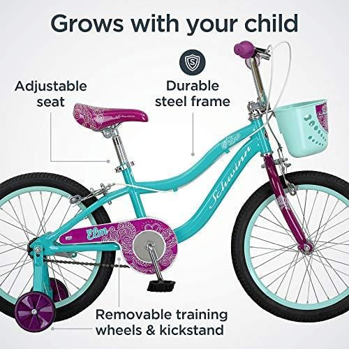 Schwinn Elm Girls Bike for Toddlers and Kids, 18-Inch Wheels, Teal